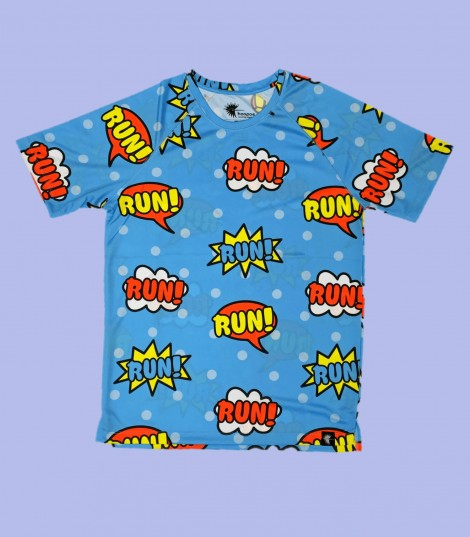 Camiseta running comic. Hoopoe Running Apparel