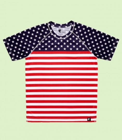 camiseta running niño stars and stripes bandera EEUU Hoopoe Running Apparel