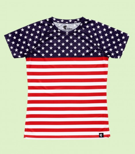 camiseta running mujer stars and stripes bandera EEUU Hoopoe Running Apparel