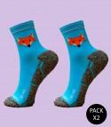Trail Running Socks Fox Blue - Pack 2