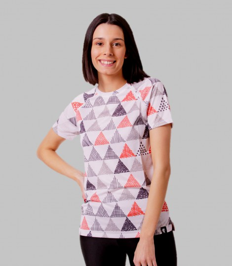 camiseta running mujer triangulos triangles Hoopoe Running Apparel