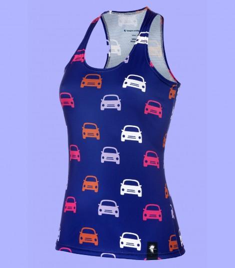 Camiseta running tirantes mujer gatos meow azul Hoopoe Running Apparel