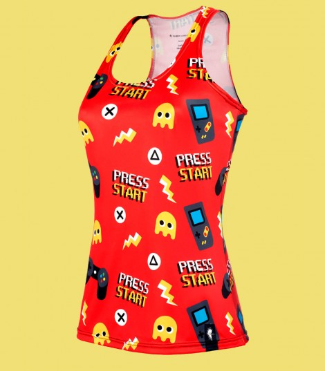 Camiseta running tirantes videogames mujer roja Hoopoe Running Apparel